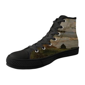 Breathable Men Shoes High Top Black Canvas Vulcanized Shoes For MaleHigh Quality Lace-up Sneakers Painting Print Piet Mondrian