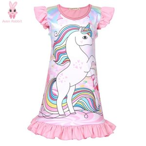 Aven Summer Dress Girls Clothes Kids Clothes Cartoon Unicorn Nightdress Pink Straight Dress 3-8Years Old Children