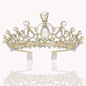 Joyería y accesorios de pelo Adornos de boda preciosa perla de la plata tiara corona con peines de las vendas del pelo de las mujeres de baile