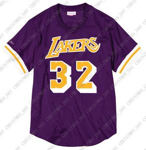Encargo baratos Johnson Mitchell & Ness los hombres de camisa de malla jersey cosido camiseta de baloncesto de verano tee retro