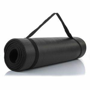 "Kalın Dayanıklı (15 mm) 72 ""x 24"" NBR yoga mat kaymaz siyah mat"