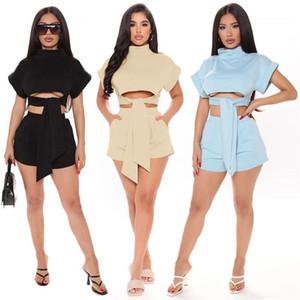 Katı Bandaj Kısa Kollu Tops Ve Kalem Kısa Pantolon Yaz Moda Bayan İki Parçalı Setleri Seksi Kadın Takım Elbise