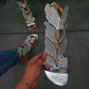 Donna Estate sandali Handmade delle donne signore Croce strass decorazioni piatto sexy dei sandali Calzature Plus Size 2020