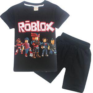 여름 코튼 아동 의류 ROBLOX 만화 인쇄 짧은 소매 소년 의류 티셔츠 + 반바지 세트 컴포트 티셔츠 의류