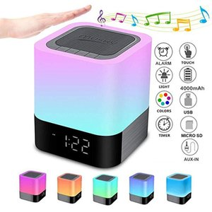 Night Lights Alarm Clock Speaker Smart Touch Control Dimmable RGB LED Table Lamp For Bedroom HIFI Sound Multi-color Changing