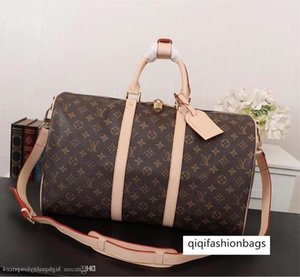 414181 Classic three sizes brown letter canvas leather men duffel bag style big size women handbag M