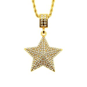 Hip Hop Gold Color Cubic five-pointed star pendant necklace For Men Iced Out Bling Jewelry Free shipping
