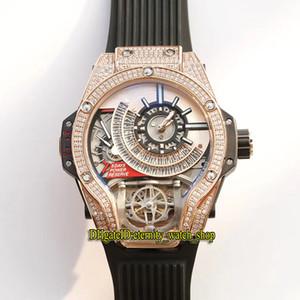 Meilleure version 45mm 1120 18K Rose Diamant Diamant Glafe Out Bezel Japon Miyota Automatique Mechanical Hommes Montre Steel Sport Montres Sport en caoutchouc 09