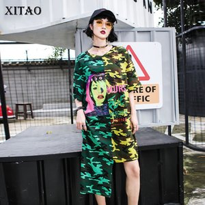 Xitao Kore Stili Gevşek Patchwork Ç Boyun Orta ve Uzun Asimetri yazdır Günlük Elbise 2020 Yaz Yeni Kadın Elbise XJ4519
