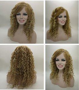 """21"""" Long extra # 27/613 Synthetic Mix Loiro calor amigável parte dianteira do laço do cabelo encaracolado Wig"""