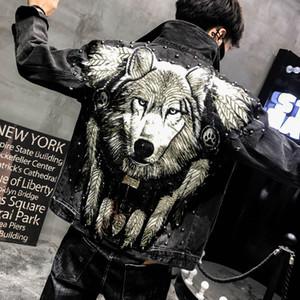 YASUGUOJI New 2019 Punk Style Novel Wolf gestickte Rivet Jean Jacket Men Jeansjacken Street dünne schwarze Jacke für Männer T200115