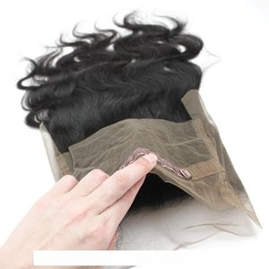 A 5pcs Lot 360 Lace Band Frontal Closure Brazilian Virgin Human Hair 1b Nautral Black 130 %Body Wavy Swiss Lace 360 Front Wigs