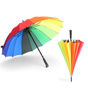 Rainbow Umbrella Long Handle 16K Straight Windproof Colorful Pongee Umbrella Women Men Sunny Rainy Umbrella Parasol 6 Color WX9-1348