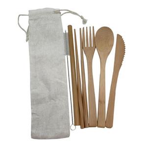 الخيزران أدوات المائدة مجموعة السفر أواني للتحلل خشبي المائدة في الهواء الطلق المحمولة أطباق صفر نفايات أدوات المائدة مجموعة الخيزران