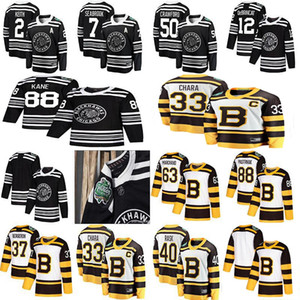 2019 Chicago Blackhawks Boston Bruins Winter Classic Hockey Jersey 88 Patrick Kane 50 Corey Crawford 63 Brad Marchand 88 David Pastrnak