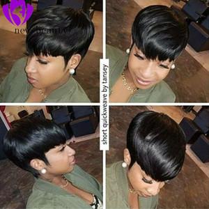 melhor penteado corte curto pixie para as mulheres negras Pré arrancada rendas frente Humano perucas de cabelo com franja reta brasileiro Bob peruca