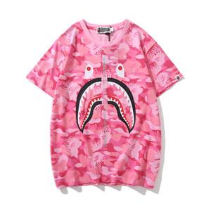 Nuove donne degli uomini di arrivo Blue Pink Camo Cartoon stampa T-shirt Lover Casual girocollo manica corta T-shirt