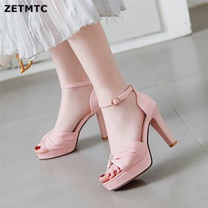 Women Sweet Bow Pendant High Heels Sandals Female Thick Heel Paltform A Word Buckle Fish Mouth Sandals Small Big Size 34 42 43