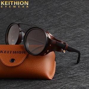KEITHION Dell'annata di modo SteamPunk Punk di Stile Rotondo Occhiali Da Sole Polarizzati Scudo Laterale In Pelle di disegno di marca Gradiente Occhiali Da Sole Y200420