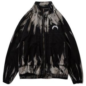 2020 Hip Hop Jacket letter Embroidery zipper Denim Jackets Sleeve Tie Dye Casual Jeans Jacket Coats Street Stand tops