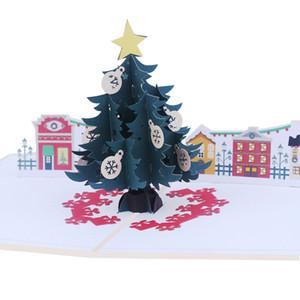 Noël 3D Folding anniversaire de voeux Popup Cartes vierges Nouvel An Carte postale créative Carte de Noël (Petite carte postale et enveloppe)