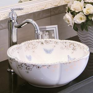 Europe Vintage Style Art wash basin Ceramic Counter Top Wash Basin Bathroom Sinks porcelain vessel bathroom sinks
