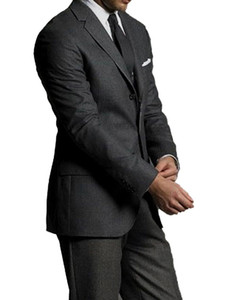 Special Offer: Dark Grey Pure WOOL Men Suits Custom Made  Comfortable 100% WOOL Business Suits For Men Bespoke Groom