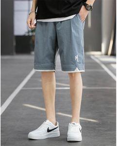 Mens Designer Patchwork Letter Print Pants Summer Loose Sports Drawstring Knee Length Pants Casual Pocket Fashion Mens Pants