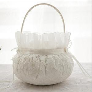 Ceremonia de boda nupcial Anillo de bolsillo Cojín de almohada Portador con cintas de raso Conjunto de cesta de niña de las flores de boda para la decoración de la boda
