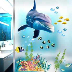 1320 Underwater World Dolphin Creative Children's Room Boy Bedroom Bedside Decorative Wall Sticker Stickers