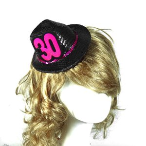 Mini birthday fedora hat black on hair clips gift 50% off for 3pcs hair accessories souvenir 21 30 40 50 event party supplies