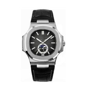 Лучшие моды Мужские часы PP Nautilus 5726A серии 40MM Moon Phase Циферблат Сапфировое стекло Автоматическая Кожаный ремешок Мужчины классический спортивные часы