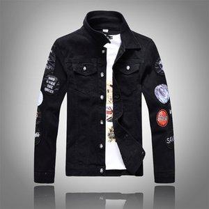 Cool autumn fashion men's slim long Patch sleeve denim jacket men's black patch denim jacket