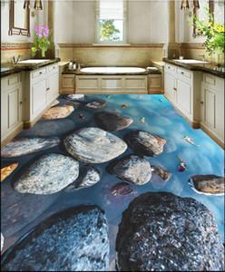 Custom Waterproof self-adhesive floor wall Sticker 3d floor mural painting stone running water picture bathroom floor painting wall papers