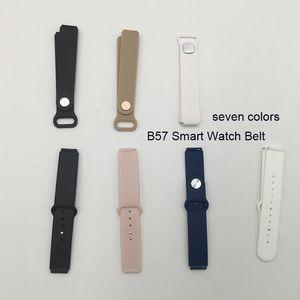 siyah beyaz mavi altın pembe kayış kemer kordonlu saat aksesuarını Silikon kol saati kaliteli B57 Akıllı bant akıllı saat kadınların erkekler
