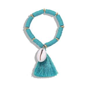tejida a mano salvaje creativo moda étnica shell colorido cuerda línea de cuerda pulsera mujer pulsera shell cadena