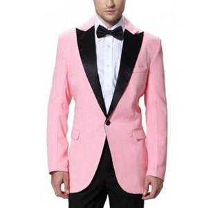 Pembe Goorm Düğün Erkek Siyah Doruğa Yaka Tek Düğme 2 Parça ile Suits Slim Fit Balo Erkekler Düğün Smokin Suits (ceket + Pantolon + Yay)