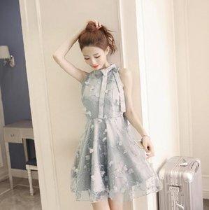 Clobee 2020 mujeres del vestido vestido de bola del bordado de la flor del arco del cordón del hombro señoras de los vestidos Lolita Una Parte Línea Femme Vestidos Z619