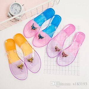 2019 latest high quality fashion jelly crystal candy color summer designer sandals slip-on Sandals wide flat slippers women's shoes