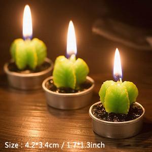6pcs / lot Cactus candela profumata verde Carne pianta Interno di casa Profumo romantiche candele Arte del tè della candela Candele Luce Mini Regalo bello aC BH2692