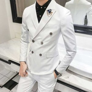 Custom White Groom Tuxedos Mens Wedding Suit Pants Double Breasted Best Man Blazer Prom Party Slim Fit Terno Masculino 2Piece
