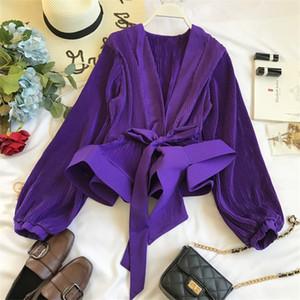 Neploe Ruched Pleated Ruffles Blusa Sashes Vintage Grace Women Blouse 2020 Spring Autumn New Fashion Elegant V-Neck Shirt 69273 MX200407