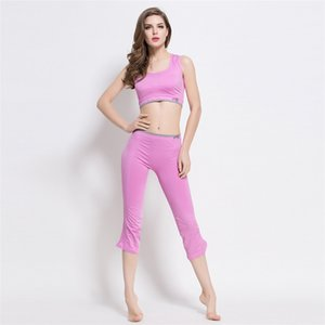 2019 Pink Sleeveless Solid Women Female Fashion Elastic force Running Quick-drying Yoga suit Gym Clothing Fitness Wear Yoga Outfit Set