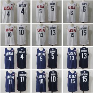 Hombre 2016 EE.UU. Jersey Dream Team de baloncesto 4 Jimmy Butler, 5 Kevin Durant 6 LeBron James 10 Kyrie Irving Paul George Carmelo Anthony