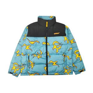 Novo luxo Homens de golfe wang flor Le Fleur Tyler Blue Flame Coats Jackets / Baixo Coats Cotton inverno quente # M38