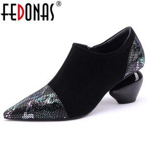 Fedonas 2019 весна осень Новая мода смешанные цвета из натуральной кожи Kid Suede Женщины насосы Sexy Party Женская обувь Женщина