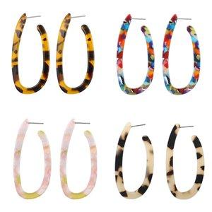 Bohemia resina acrilica stampa del leopardo orecchini multicolore ellisse a forma di U Geometria Dichiarazione ciondola Ear Stud Eardrop femminile gioielli Accesory