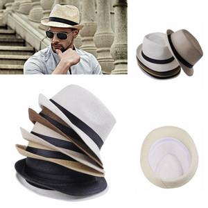 Mode Panama Chapeaux de paille Fedora douce Hommes Femmes Summer Sun Beach Straw Brim Avare extérieur Caps FFA3715