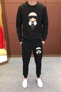 2019 nuevo estampado de moda masculina de algodón de manga larga Jogger trajes chaqueta pantalones conjuntos hombre diseñador chándal traje deportivo talla grande M-4XL
