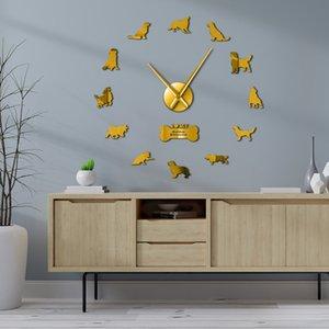 Obra Dog Espelho de Ouro Pet Adesivos DIY gigante Relógio Retriever animal Frameless parede Assista Y200109